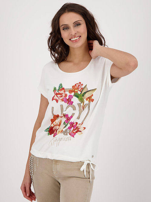 MONARI Shirt off-White mit floralem Druck