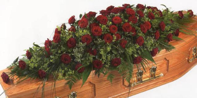 4ft Red Rose Coffin Spray