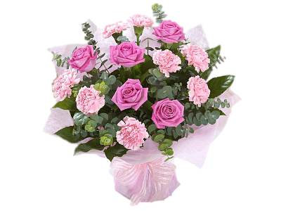 Hand Tied Pink Carnation and Rose