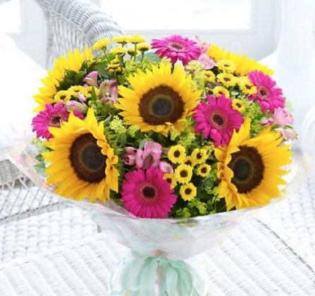Sunflower & Gerbera Hand Tied