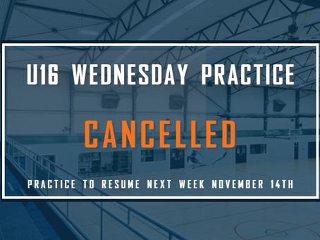 U16 Practice Cancelled