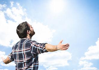 man to open sky