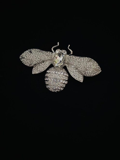 Jewelled bee brooch silver
