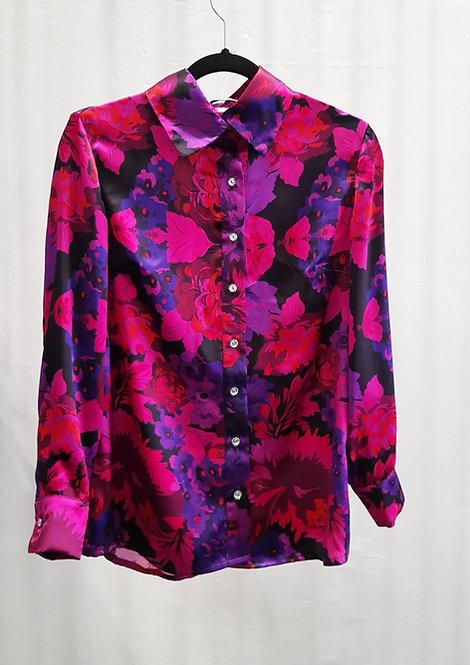 Cherry Berry Flora Morelle Silk Shirt- THOK