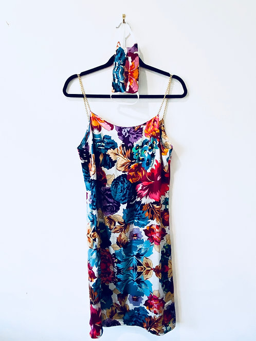 Flora Morelle chain strap silk slip dress and matching face mask