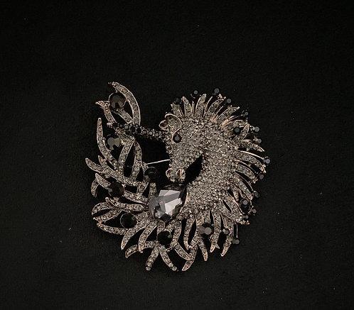 Unicorn crystal brooch