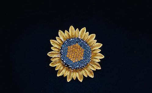 Sunflower crystal brooch