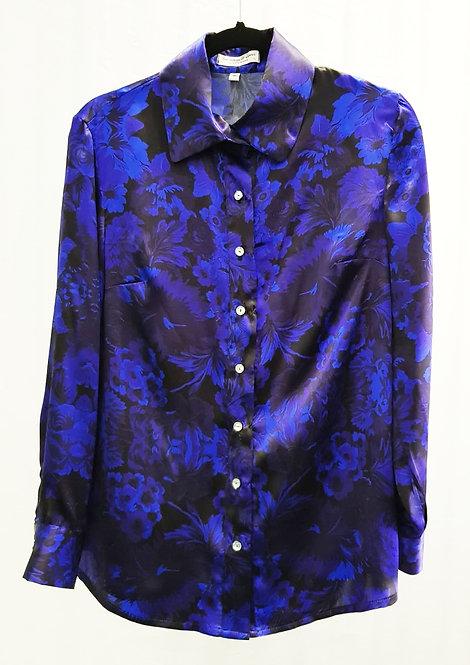 Navy Breeze Flora Morelle Silk Shirt- THOK