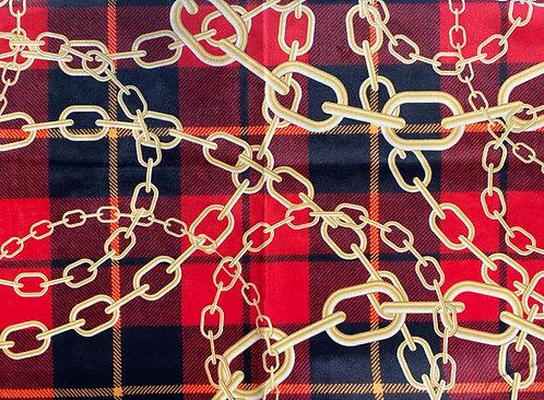THOK Tartan Red Chain Velvet