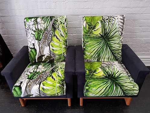 1960's Vintage Danish Armchairs in Lacroix Fabric 1 LEFT