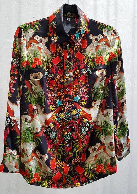Koala Black Silk Shirt- THOK