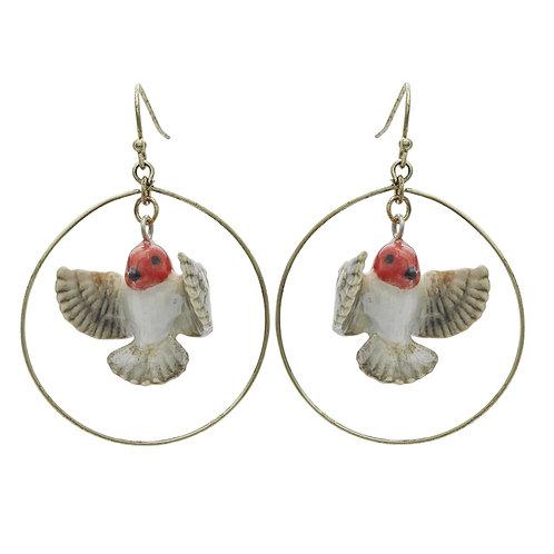 Flying Robin Hoop Drop Earrings- And Mary