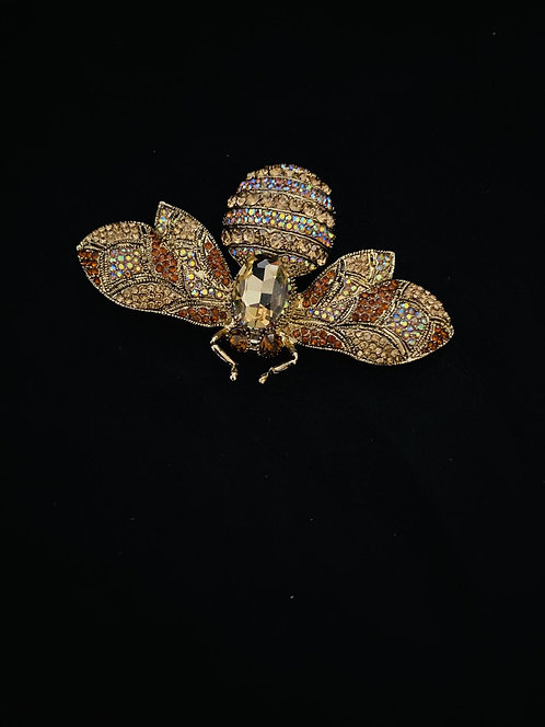 Jewelled bee brooch gold