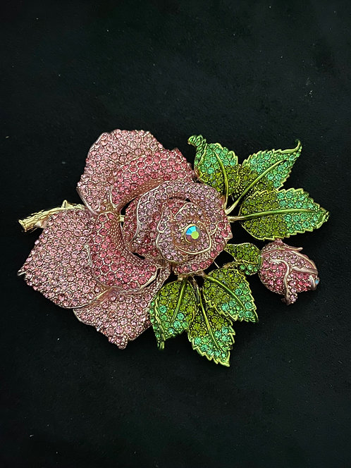 Large crystal rose brooch