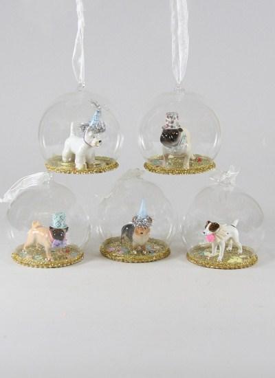 Dog globes 5 ASST Gold base decoration