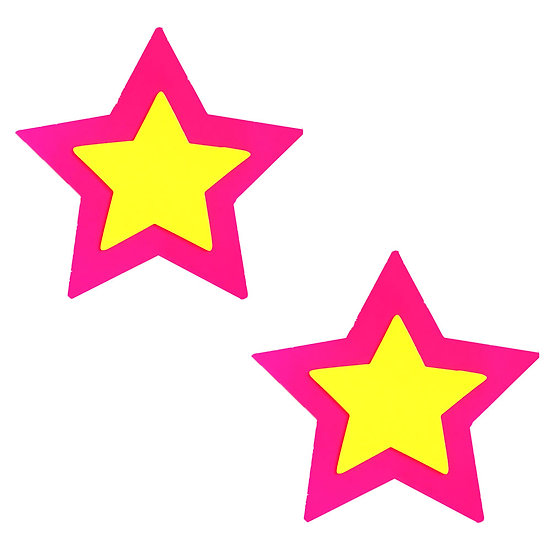 Pink Double Star Burst Neon Blacklight Starry  Nights Nipztix Pasties