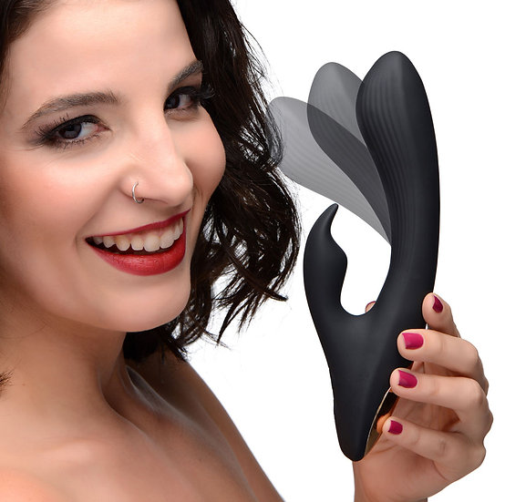 7x Bendable Silicone Rabbit Vibrator - Black