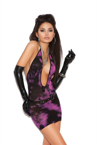 Deep v Tie Dye Mini Dress - One Size  - Black/pink