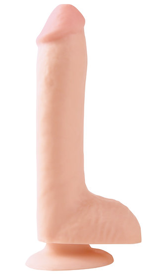 Basix Rubber Works 8 Inch Dong With Suction Cup -  Flesh