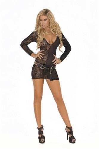 Deep v Lace Long Sleeve Mini Dress  - One Size - Black