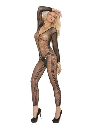 Deep v Long Sleeve Body Stocking - One Size - Black