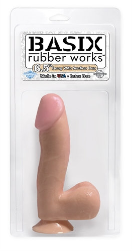 Basix Rubber Works - 6.5 Inch Dong With Suction Cup - Flesh