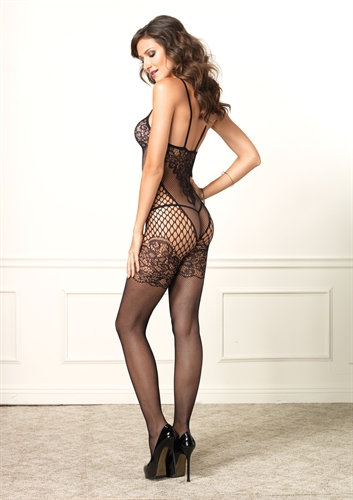 Dual Net Bodystocking - One Size - Black
