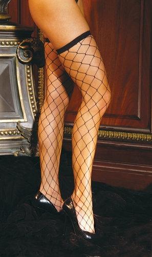 Diamond Net Thigh High - One Size - Black