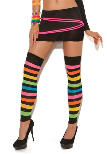 Neon Stripped Leg Warmers - One Size