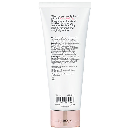 Pole Polish Kissable Massage Cream Simply Naked 4 Fl Oz.