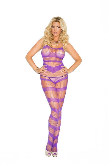 Strappy Body Stocking - Queen Size - Purple