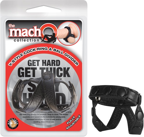The Macho Collection v-Style Cock Ring and  Ball Divider - Black