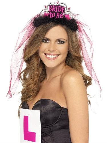 Bride to Be Tiara With Veil - Black
