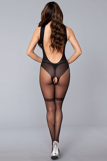 Open Low Back Crotchless With Line Details on Top and Thighs - One Size - Black