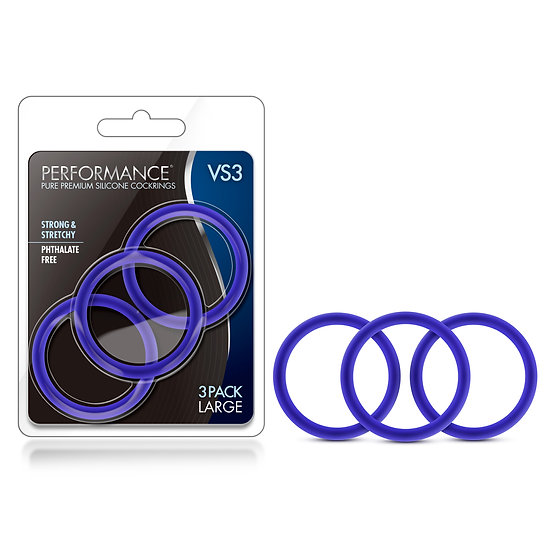 Performance - Vs3 Pure Premium Silicone  Cockrings - Large - Indigo