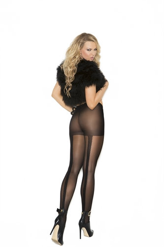 Pantyhose With Lace Backseam - One Size - Black
