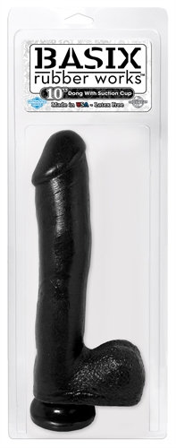 Basix Rubber Works - 10 Inch Dong With Suction Cup - Black