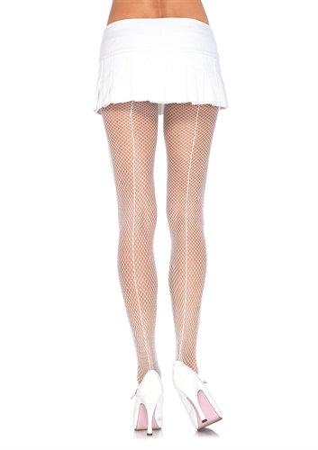Fishnet Backseam Pantyhose - One Size - White