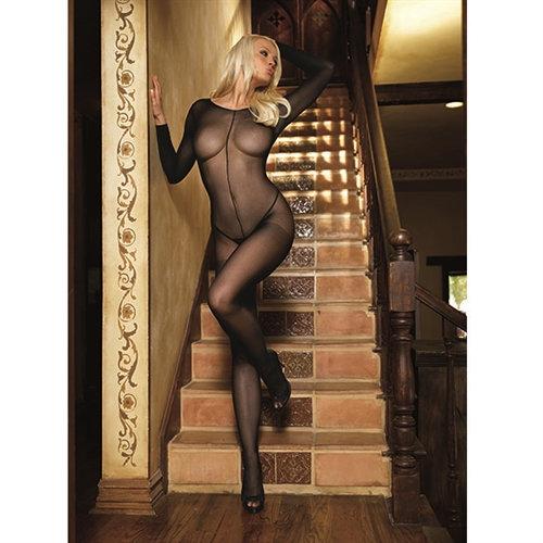 Long Sleeved Bodystocking - One Size - Black