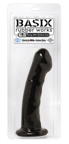Basix Rubber Works - 6.5 Inch Dong With Suction Cup - Black
