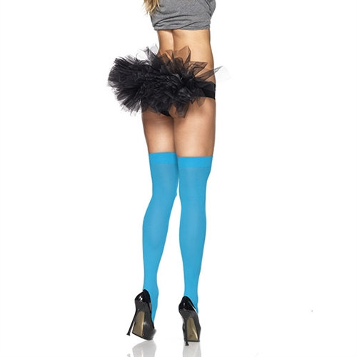 Opaque Thigh Highs - One Size - Neon Blue