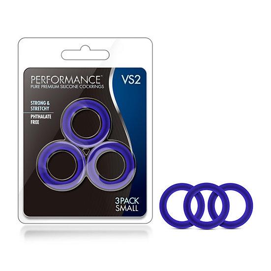 Performance - Vs2 Pure Premium Silicone Cockrings - Small - Indigo