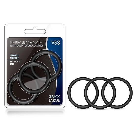 Performance - Vs3 Pure Premium Silicone  Cockrings - Large - Black