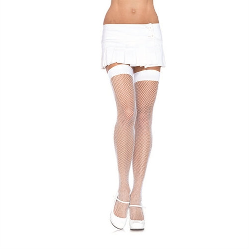 Fishnet Thigh Highs - One Size - White