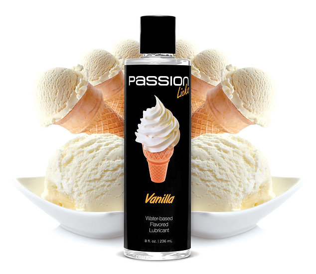Passion Licks Vanilla Water Based Flavored Lubricant - 8 Oz