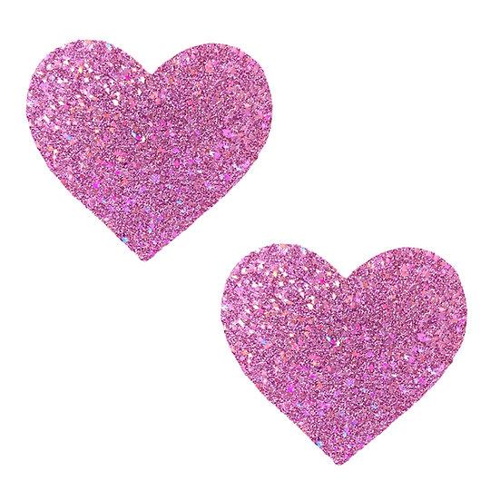 Pegasus Kisses Iridescent Pink Glitter I Heart U  Nipztix Pasties