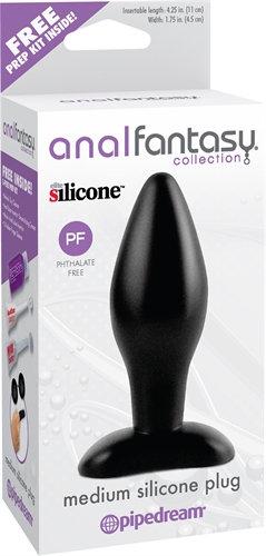 Anal Fantasy Collection Medium Silicone Plug - Black