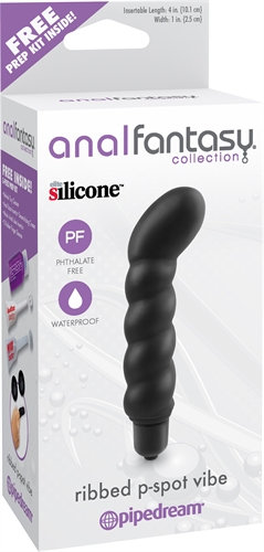 Anal Fantasy Collection Ribbed P-Spot Vibe  - Black