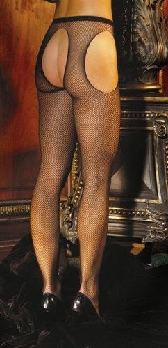 Fishnet Suspender Pantyhose - One Size - Black
