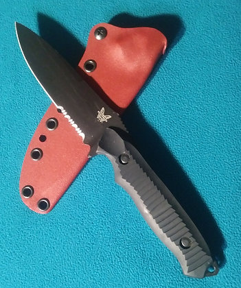 Blood red Kydex sheath for a Benchmade Nimravus 140 / 141